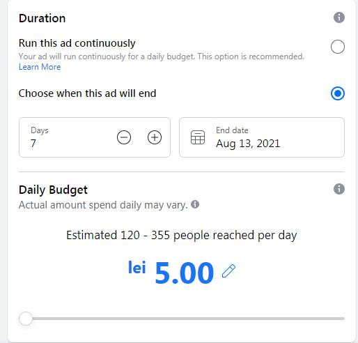 alege bugetul unei reclame de promovare pe facebook