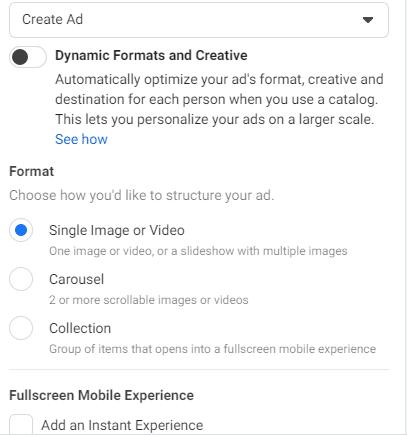 alege formatul de reclama pentru promovarea pe facebook sau instagram