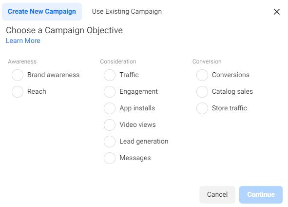 alege obiectivul campaniei de promovare pe facebook