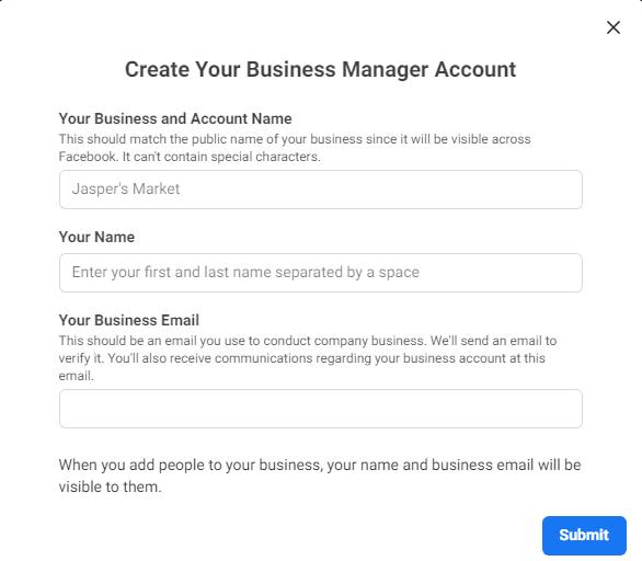 creeaza contul de business manager