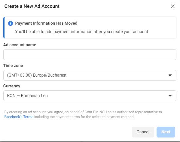 introdu datele de plata pentru contul de reclame pe facebook